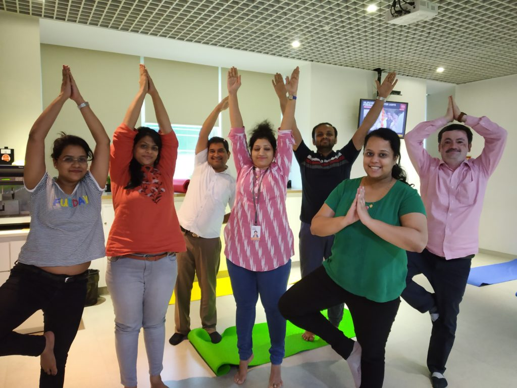Corporate yoga with Zoetis fun picture